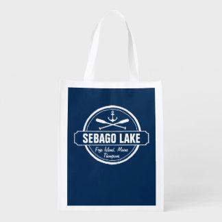 Sebago Lake Maine Personalized Town and Name Reusable Grocery Bag