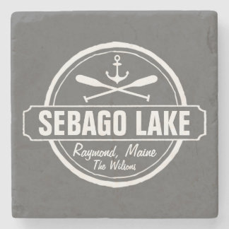SEBAGO LAKE MAINE PERSONALIZED TOWN AND NAME STONE COASTER
