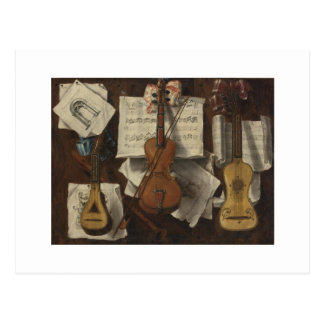 Sebastiano Lazzari Trompe - Violin and Music Notes Postcard
