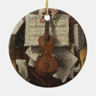 Sebastiano Lazzari Trompe - Violin and Music Notes Round Ceramic Decoration