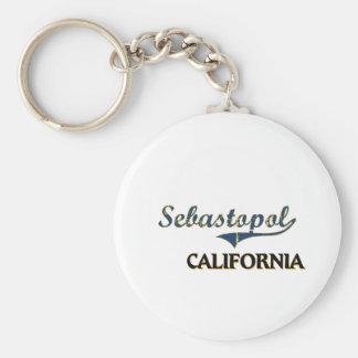 Sebastopol California City Classic Basic Round Button Key Ring