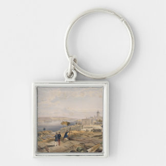 Sebastopol from the Rear of Fort Nicholas, plate f Silver-Colored Square Key Ring
