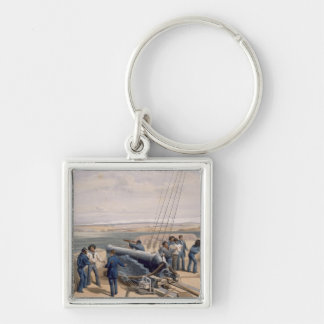 Sebastopol from the Sea, plate from 'The Seat of W Silver-Colored Square Key Ring