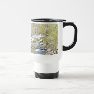 Secluded Creek in the Forest with Matte Stainless Steel Travel Mug