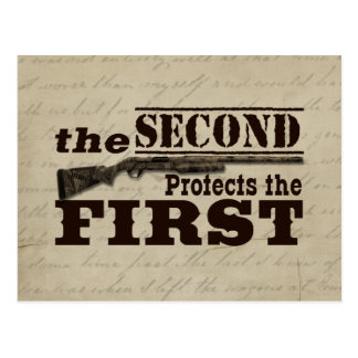 Second Amendment Protects First Amendment Postcard