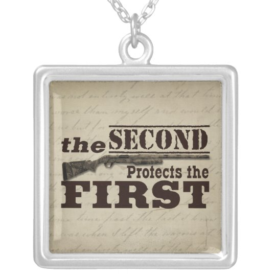 Second Amendment Protects First Amendment Silver Plated Necklace