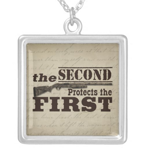 Second Amendment Protects First Amendment Square Pendant Necklace