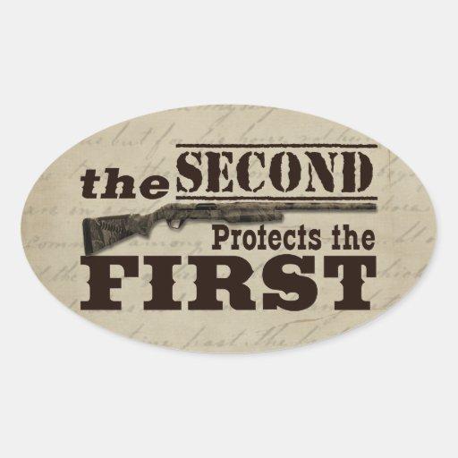 Second Amendment Protects First Amendment Oval Stickers