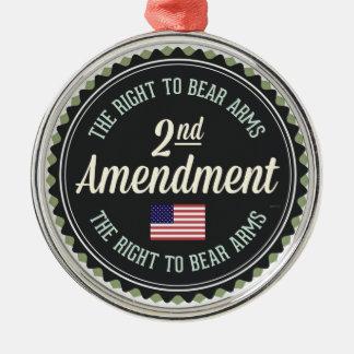 Second Amendment Silver-Colored Round Decoration
