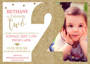 Second Birthday Gold Glitter Pink Invitation