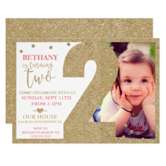 Second Birthday Gold Glitter & Pink Invitation
