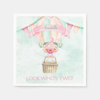 Second Birthday Hot Air Balloon Mint Pink Peach Paper Napkins