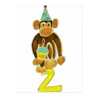 Second Birthday Monkey Postcard