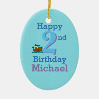 Second Birthday, Two Year Old, Boat and Name Ceramic Oval Decoration