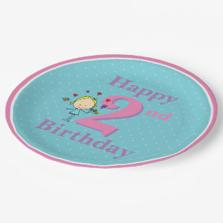 Second Birthday, Two Year Old, Girl 9 Inch Paper Plate