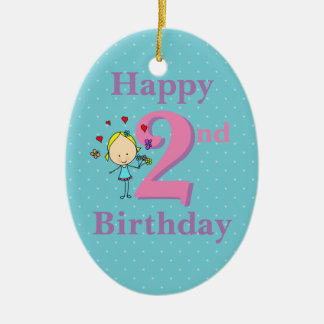 Second Birthday, Two Year Old, Girl Ceramic Oval Decoration