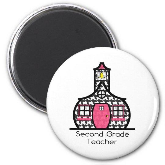 Second Grade Teacher Houndstooth Schoolhouse Magnet