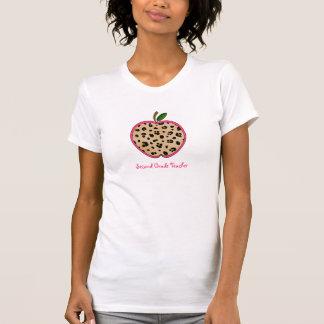 Second Grade Teacher Leopard Print Apple T-Shirt