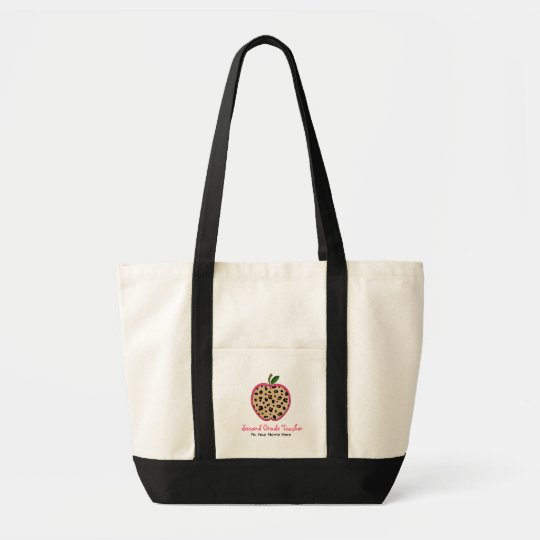 Second Grade Teacher Leopard Print & Pink Apple Tote Bag