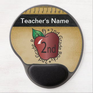 Second Grade Teacher's Vintage Chalkboard Style Gel Mouse Pad