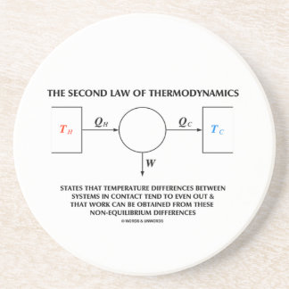 Second Law Of Thermodynamics (Physics) Work Beverage Coasters