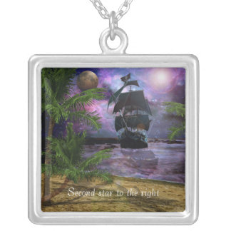 Second Star to the right Square Pendant Necklace