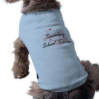 Secondary School Teacher Artistic Job Design with Sleeveless Dog Shirt