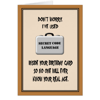 Secret 60th Birthday Humor Card