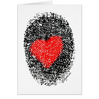 Secret Admirer Heart Fingerprint Love Greeting Card