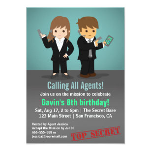 Secret agent invitations announcements zazzle secret agent birthday party card filmwisefo Image collections