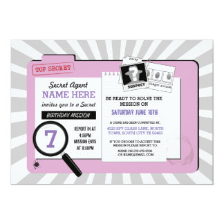 Secret Agent Birthday PinkDetective Mission Invite