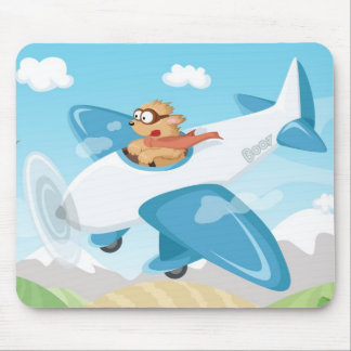 Secret agent Boo flying a plane Mouse Pads