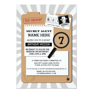 SECRET AGENT DETECTIVE CRIME SPY BIRTHDAY PARTY 13 CM X 18 CM INVITATION CARD