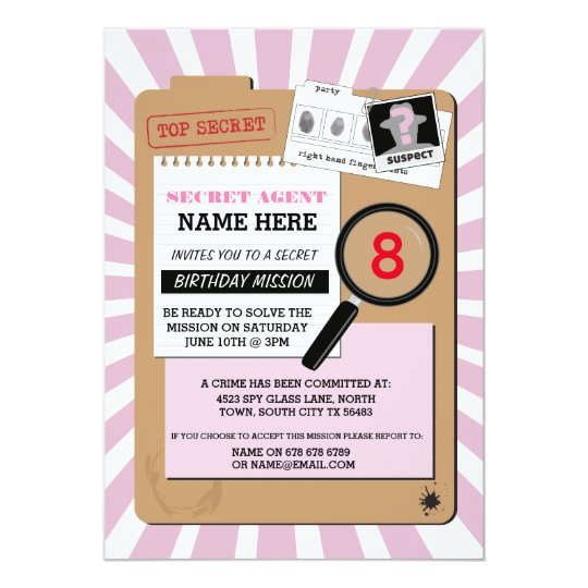 Secret agent invitations announcements zazzle secret agent detective crime spy birthday party invitation filmwisefo