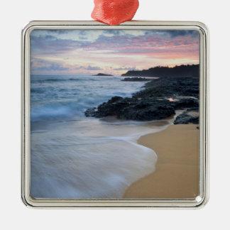 Secret Beach at dawn Silver-Colored Square Decoration