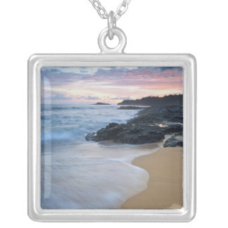 Secret Beach at dawn Silver Plated Necklace