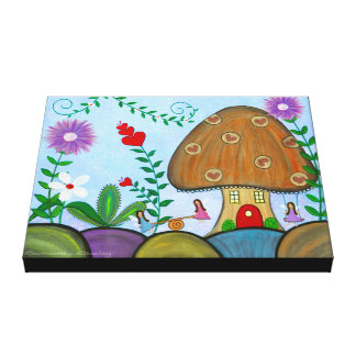 "Secret Garden - 16""x20"" Fairy House Kids Wall Art Gallery Wrap Canvas"