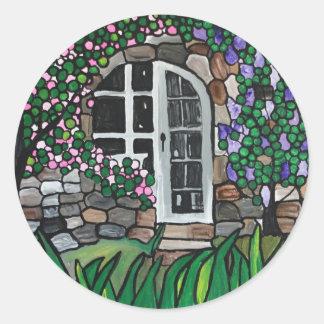 Secret garden door classic round sticker