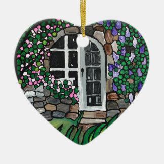 Secret garden door ceramic heart ornament