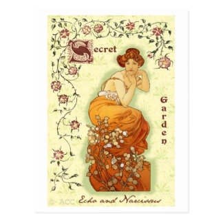 Secret Garden Mucha Woman Postcard