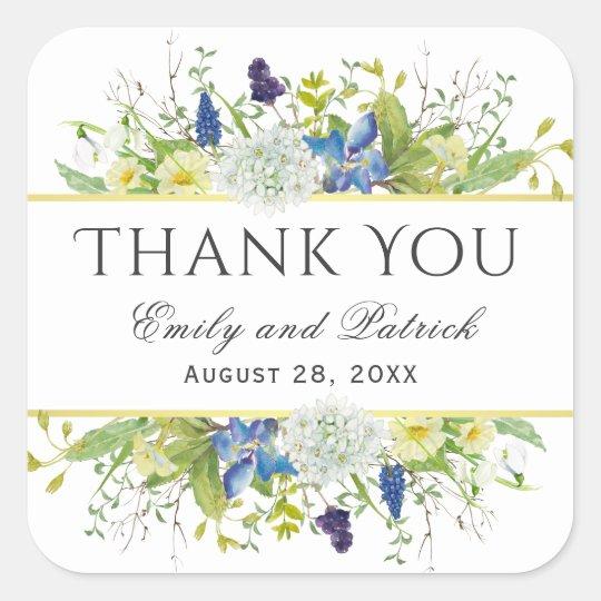 Secret Garden Rustic Wildflowers Wedding Square Sticker