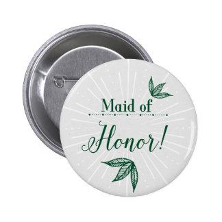 Secret Garden Wedding Button - Maid of honor