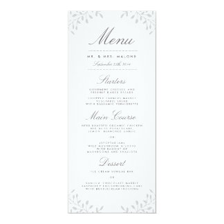 Secret Garden Wedding Dinner Menu - Grey 10 Cm X 24 Cm Invitation Card