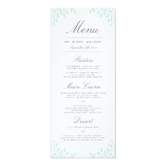 Secret Garden Wedding Dinner Menu - Mint Card