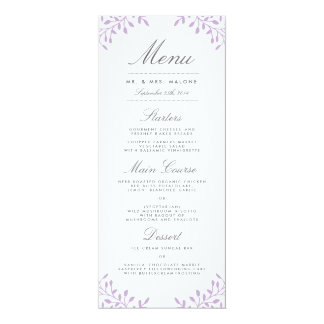 Secret Garden Wedding Dinner Menu - Orchid Card