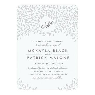 Secret Garden Wedding - Grey 13 Cm X 18 Cm Invitation Card