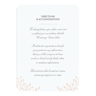 Secret Garden Wedding Insert Card