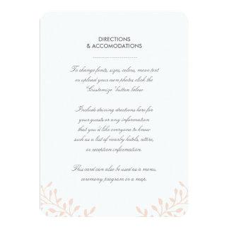Secret Garden Wedding Insert Card 11 Cm X 16 Cm Invitation Card
