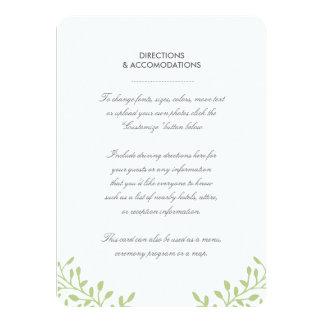 Secret Garden Wedding Insert Card - Green