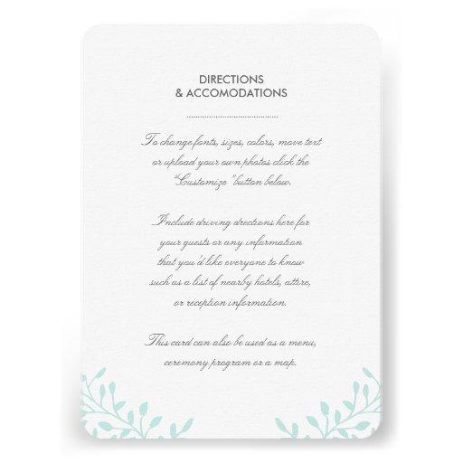 Secret Garden Wedding Insert Card - Mint